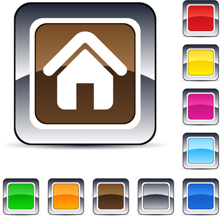 Home glossy square web buttons.  Vector