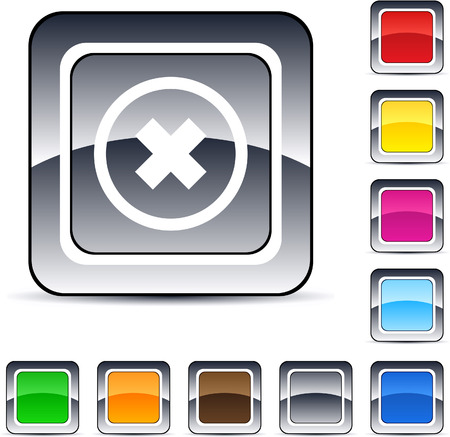 Delete cross glossy square web buttons. Vector