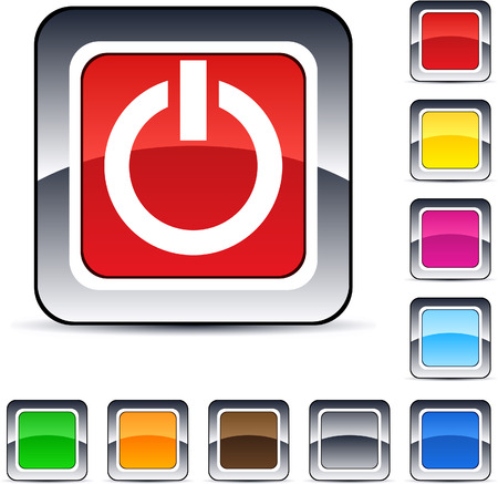 Power glossy square web buttons.  Vector