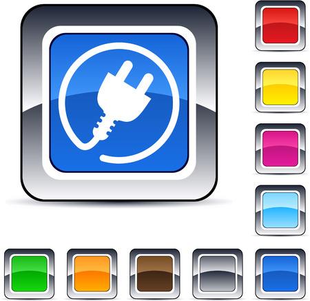 enchufe: Botones de web cuadrados brillante de tap�n de poder.  Vectores