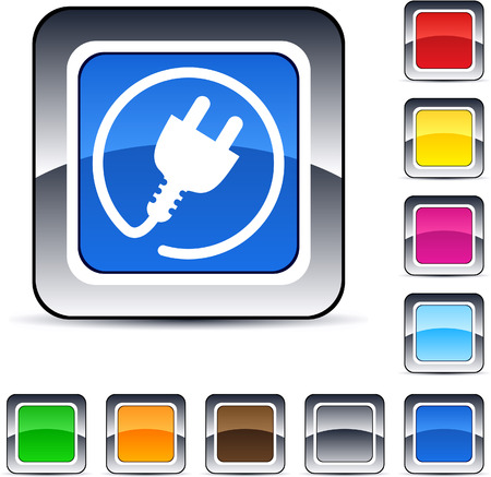 Power plug glossy square web buttons.  Vector