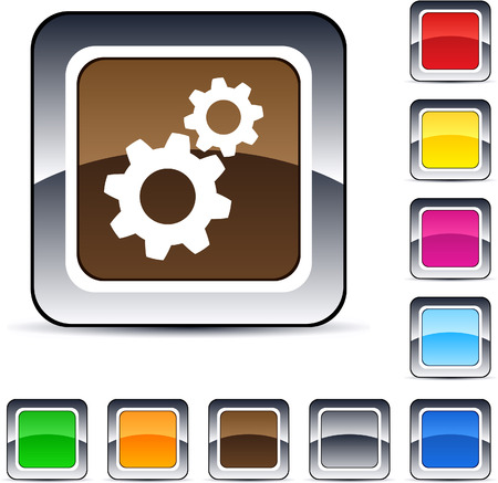 Tools glossy square web buttons. Stock Vector - 7175384