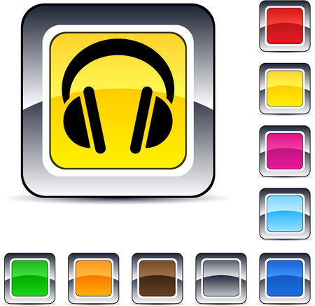 Headphones glossy square web buttons.  Vector