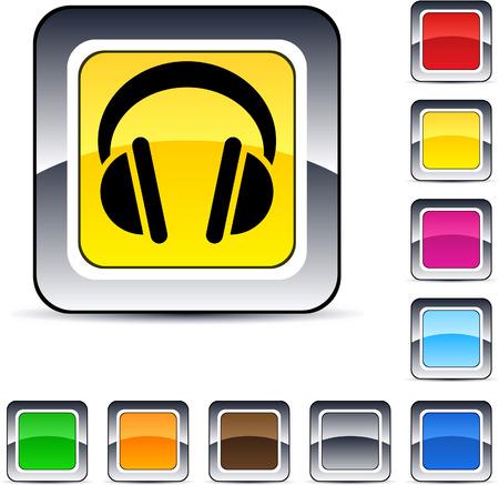 headphones icon: Headphones glossy square web buttons.  Illustration