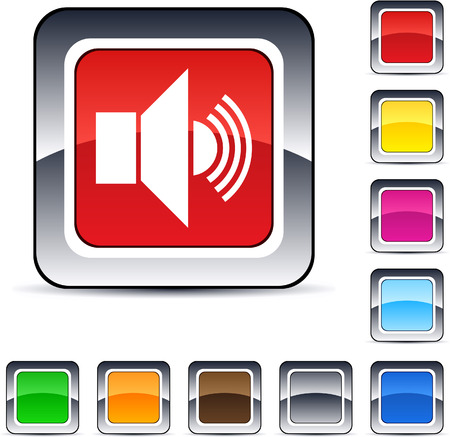 red sound: Sound glossy square web buttons.  Illustration