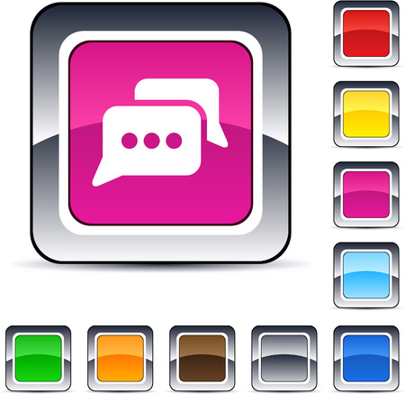 Chat glossy square web buttons. Stock Vector - 7198867