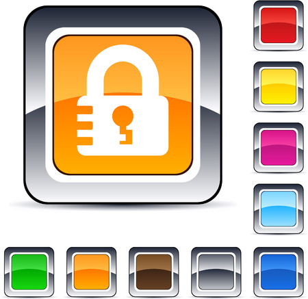 Lock glossy square web buttons.   Vector