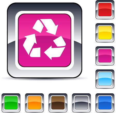 triangle button: reciclaje de brillante web cuadrados de botones.  Vectores