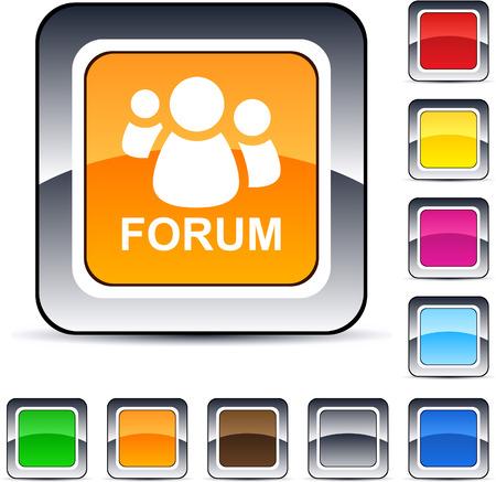 Forum glanzende vierkante web knoppen.