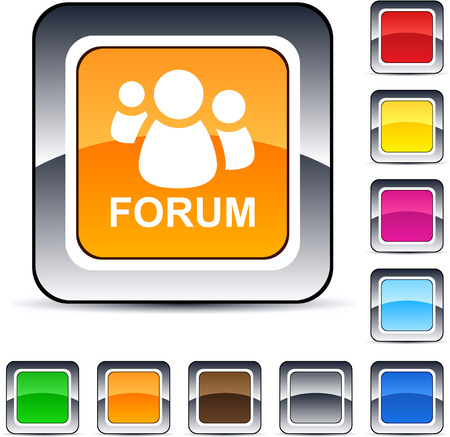 discussion forum: Forum glossy square web buttons.  Illustration
