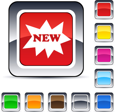 New glossy square web buttons. Stock Vector - 7198953