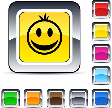 Smiley glossy square web buttons. Stock Vector - 7198951