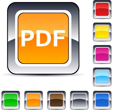 PDF glossy square web buttons. Stock Vector - 7224830