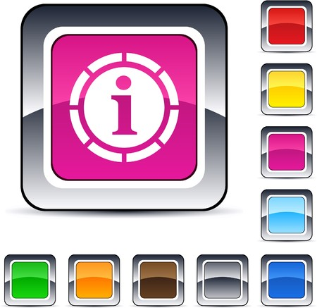 Information glossy square web buttons.  Stock Vector - 7224855