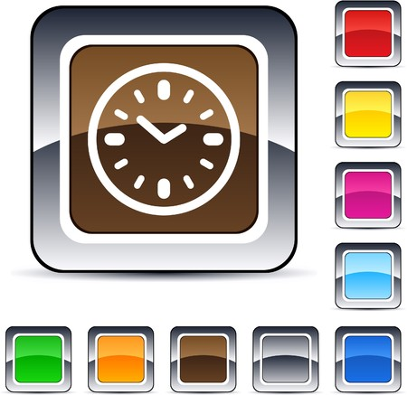 Time glossy square web buttons.  Vector