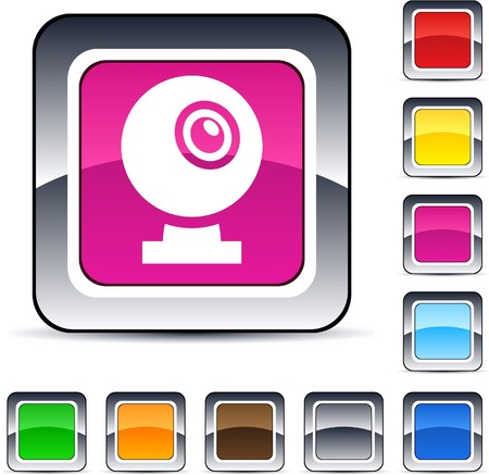 Webcam glossy square web buttons. Stock Vector - 7224836