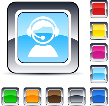 callcenter: Operator glossy square web buttons.
