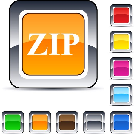 ZIP glossy square web buttons.   Vector