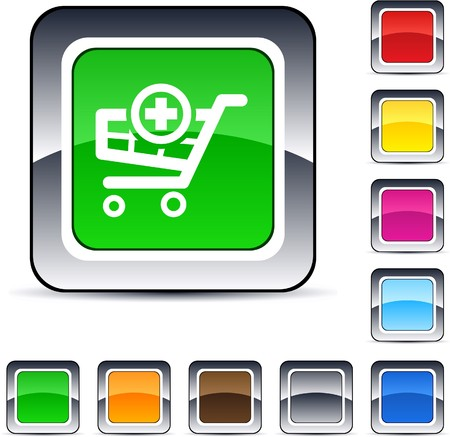 Add to cart glossy square web buttons. Stock Vector - 7224850