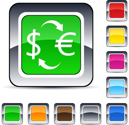 Money exchange glossy square web buttons.    Vector