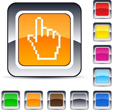 Pixel hand glossy square web buttons.  Stock Vector - 7224907