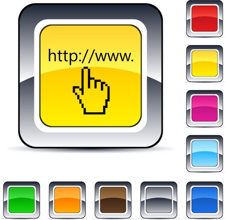 Www click glossy square web buttons.  Stock Vector - 7224929
