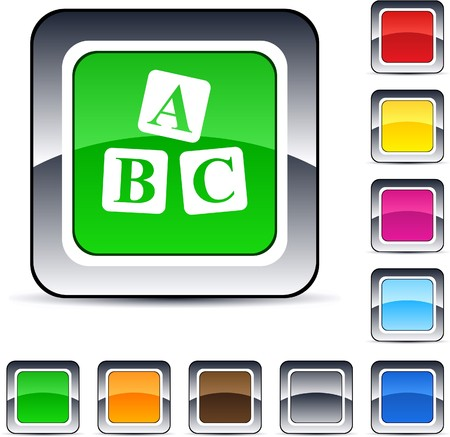 ABC cubes glossy square web buttons.  Vector