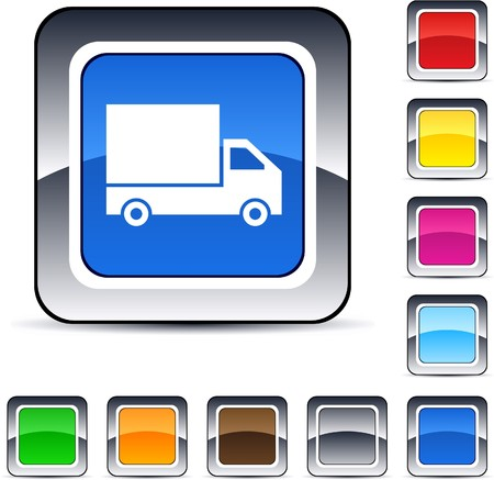 Delivery glossy square web buttons.  Vector