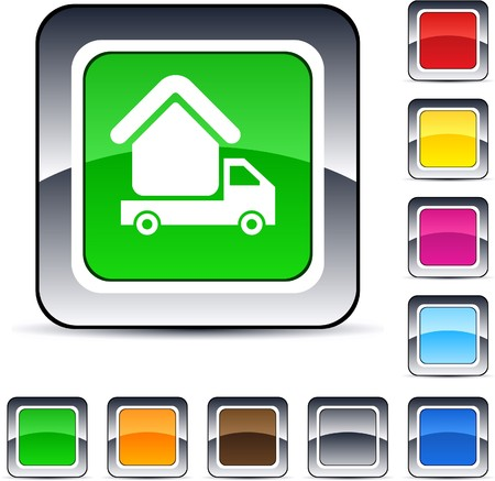 Camper glossy square web buttons.  Vector