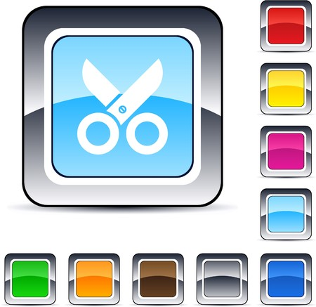 Scissors glossy square web buttons.  Vector