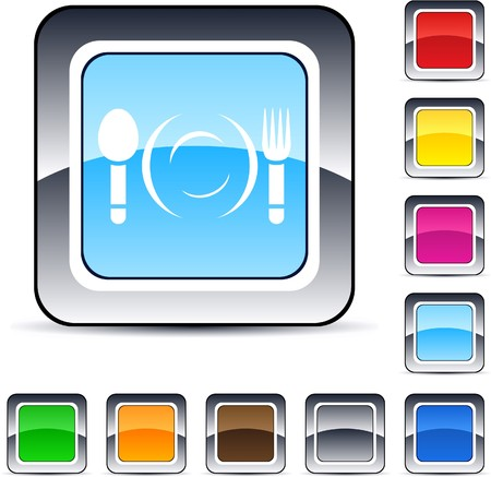 Dinner glossy square web buttons.  Stock Vector - 7224917