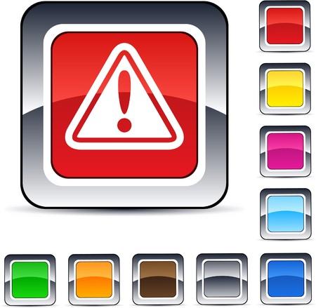 alertas: Botones de web cuadrados brillante de signo de exclamaci�n.