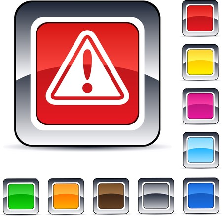 alerts: Exclamation sign glossy square web buttons.