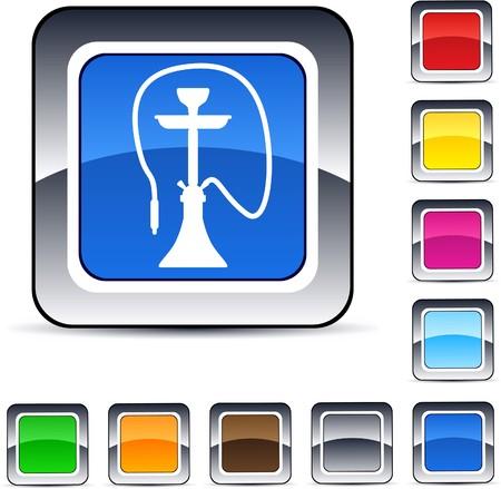ivresse: Narguil� brillant web carr�s boutons.  Illustration