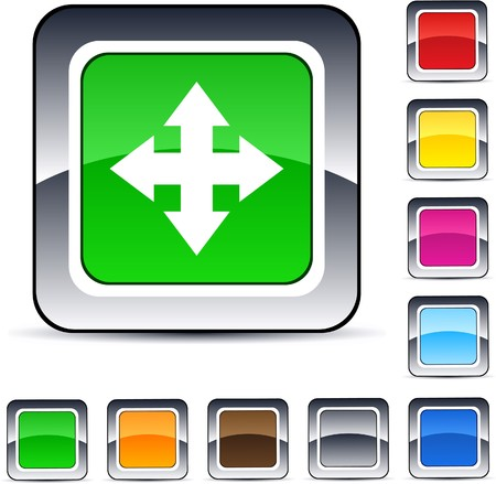 Map glossy square web buttons.  Vector