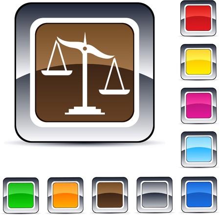 balanza en equilibrio: Equilibrar los botones web cuadrados brillante.  Vectores