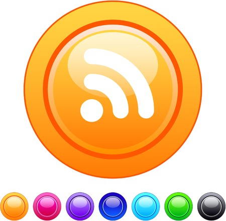 Rss glossy circle web buttons.  Vector
