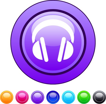 Headphones glossy circle web buttons.   Vector