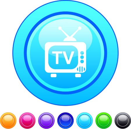 TV glossy circle web buttons.   Vector