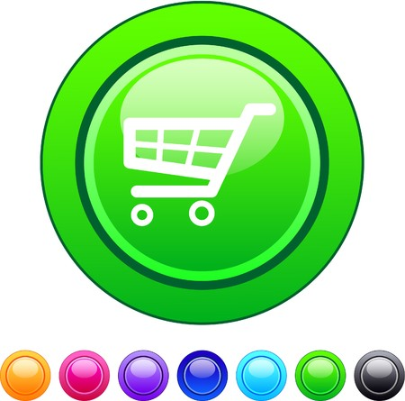 Shopping cart glossy circle web buttons. 