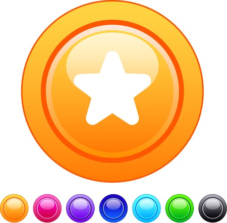 Star glossy circle web buttons.  Vector