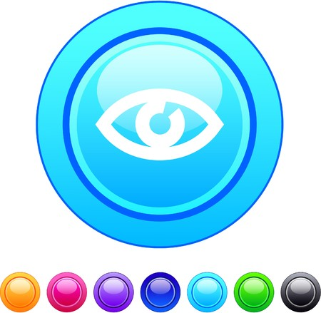 eye red: Eye glossy circle web buttons.   Illustration