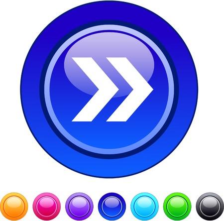 Forward arrow glossy circle web buttons.   Vector