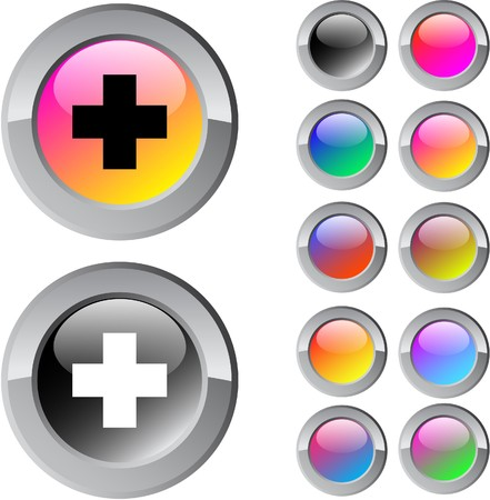 Plus multicolor glossy round web buttons.  Vector