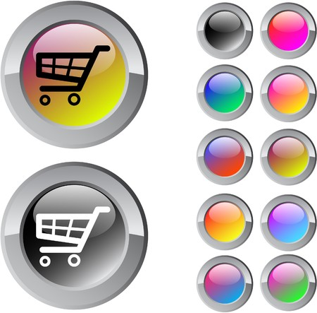 Shopping cart multicolor glossy round web buttons. Stock Vector - 7261705