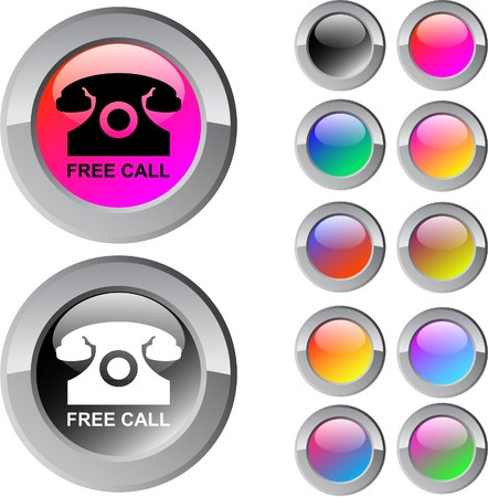 Free call multicolor glossy round web buttons.  Vector