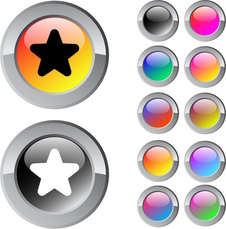Star multicolor glossy round web buttons.   Vector