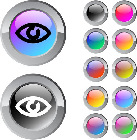 Eye multicolor glossy round web buttons.   Vector
