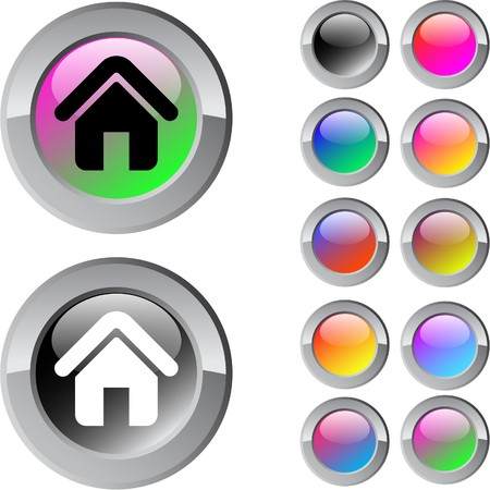 Home multicolor glossy round web buttons.  Stock Vector - 7261703