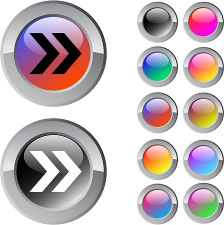 Forward arrow multicolor glossy round web buttons.  Vector